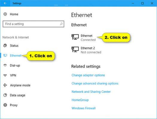 Kết Nối Ethernet và click on
